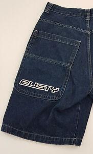 "Vintage 90s RUSTY heavy denim dark blue surf shorts size 34"" / 86cm"