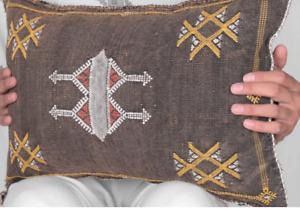 "Moroccan Pillow Sabra Cushion Cover Cactus Silk 13""x21"""