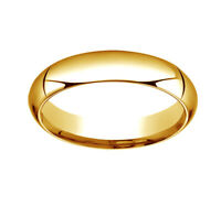 14K Yellow Gold 5mm High Dome Heavy Comfort-Fit Wedding Band Ring Size 8
