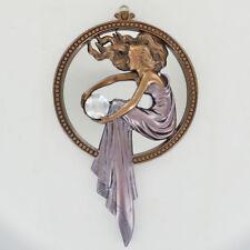 Art Deco Lady Women Holding Crystal Bronze Wall Mirror H30cm 01500