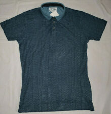 Pearly King Ballad Blue Patterned Polo Shirt M 100% Cotton