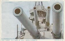 POSTCARD  SHIPS    HMS   QUEEN  ELIZABETH   Fore  Turret  Guns