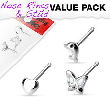 3 Pc Pack of Assorted .925 Sterling Silver Nose Stud Bone Ring