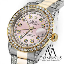 Ladies Rolex Oyster Perpetual Datejust 26mm Custom Diamond Dial Vintage Style
