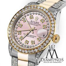Ladies Rolex Oyster Perpetual Datejust 26mmCustom set DiamondsDial Vintage Style