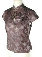 Monsoon Rose Gold Pink Silk Blend Cheongsam Sequin Evening Top Blouse Size 12
