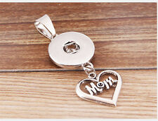 "DIY ""MOM"" Alloy Pendant for Fit Noosa Necklace Snap Chunk Button WC042"
