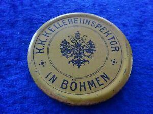 Blechschild um 1880 K.K. Wein Kellereiinspektor Böhmen Sudetenland Österreich