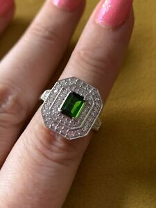 Sterling Siver Art Deco Style Russian Diopside & White Topaz Ring Size P BNWOT