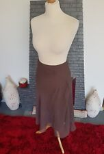 Phase Eight ~ Lovely Ladies Brown 100% Silk Floaty Skirt ~ UK Size 12