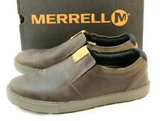 MERRELL Barkley Moc Size 11 M Brunette Leather Men's Slip-On Shoes RETAIL $100