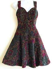 VELVET Rockabilly DRESS Petticoat Dark Purple Green Embossed PROM Floral Size 5