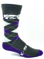 Kansas State Wildcats Purple and Gray Argyle Crew Socks