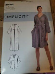 Simplicity Pattern Misses Relaxed Caftan Dress US Size XXS-XXL UNCUT R10598