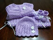NEW Handmade Crochet Baby Blanket Afghan set ( white purple ) Newborn