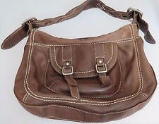 FOSSIL Brown Leather Shoulder Saddle Bag Purse Top Stitching Zip Top Closure