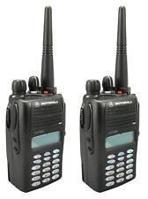 MOTOROLA GP388 UHF 4 WATT WALKIE-TALKIE TWO WAY RADIOS & COVERT EARPIECES x 2