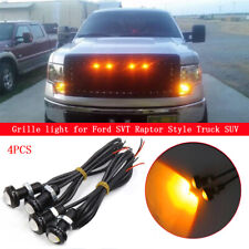 4Pcs Amber Grille Lighting LED Kit Universal Fit Ford SVT Raptor Style Truck SUV