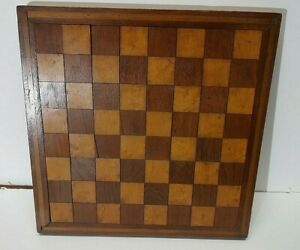 Antique Primitive wooden CHECKER BOARD Parquet Inlaid Wood blocks and sides