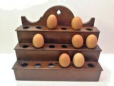 Best 1880s Wall Hanging Egg Rack Primitive Kitchen Pantry Egg Box Oak Shelf AAFA