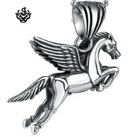 """Silver flying horse pendant stainless steel PEGASUS ball chain necklace 60cm 24"""""""