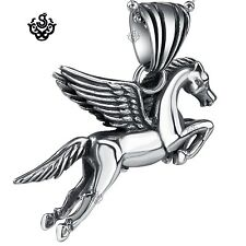 Silver flying horse pendant stainless steel PEGASUS necklace soft gothic