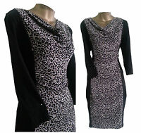 STUNNING M&S MARKS SPENCER WOMENS LADIES BLACK LEOPARD PANEL BODYCON DRESS 10-24