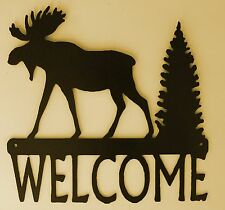 Moose Welcome sign,Cabin, Lodge, Northwoods, Metal Art, Outdoorsy, Woodsy