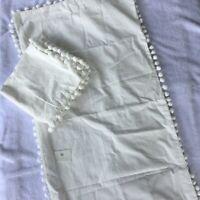2-Pack  White Pom Pom Fringe Pillowcase King Size 20 X 36 in. Bed Pillow