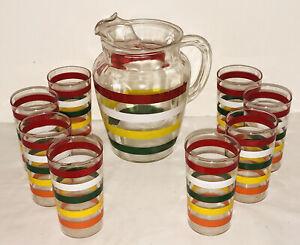 VINTAGE MCM  ANCHOR HOCKING FIESTA STRIPES GLASS PITCHER W/ ICE LIP & 8 GLASSES