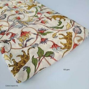 5 Yard Indian Rayon Block Print Dressmaking Animal Cotton Fabric Craft Sewing