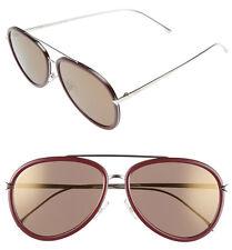 FENDI 57mm Aviator Sunglasses FF0155S Violet-Palladium 100% Authentic NWT $465