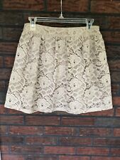 Beige Lace Skirt Size Medium Lined Side Zipper Short Sexy Forever 21 Taupe Ecru