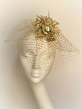 Gold Poinsettia Christmas Fascinator Headpiece hair accessory glitter party hat