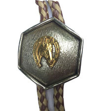 Vintage Western Style Silver Gold Bolo Tie Horse Head In Horseshoe