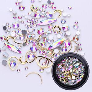 Crystal AB Nail Rhinestones Rose Gems Jewelry 3D Nail Art Decoration DIY