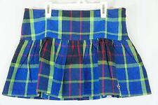 Hollister Mini Skirt Blue Green Plaid Drop Waist Gathered Yoke Preppy 7 NWT