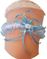XXL Strumpfband Braut hell-blau weiß mit Röschen Schleifchen Hochzeit Neu EU