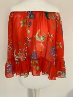 Bardot Top Size Small Red Floral Pattern Semi Sheer Ruffle Sleeve by Sam & Lili