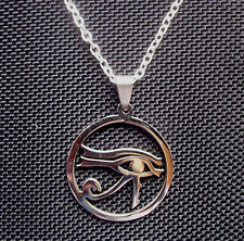 Eye of Horus Egyptian Stainless Steel Pendant Necklace 18 inch Chain