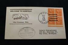 NAVAL COVER 1954 SHIP CANCEL WELCOME NORFOLK ITALIAN MINESWEEPER GELSO (6310)