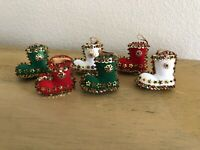 Vintage Leewards Sequin Beaded Boot Ornaments Set Of 6 Complete Red White Green