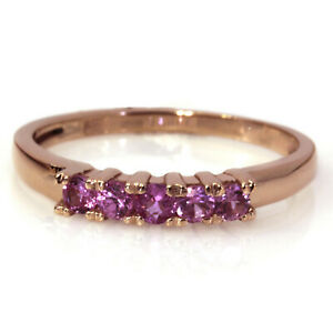 0.5 ctw Natural Pink Sapphire Solid 14k Rose Gold 5 Stone Anniversary Ring