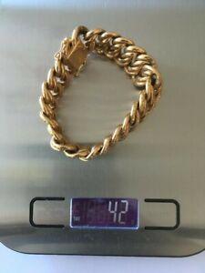 Bracelet Maille Américaine 19 cm Or 18 Carats, état d'usage, 42 grammes