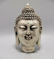 Buddhism Temple Decorated Tibet Silver gautama Sakyamuni head Buddha Statue big