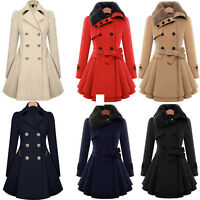 US Womens Winter Warm Fur Collared Long Peacoat Coat Trench Outwear Jacket Dress