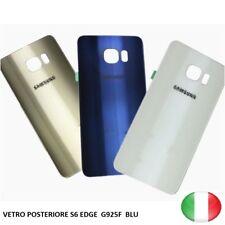 SCOCCA VETRO POSTERIORE RETRO BACK COVER SAMSUNG GALAXY S6 EDGE G925F BLU