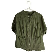 Torrid Size 2 Utility Jacket Top Green Zip-up Short Sleeve Casual Boho Plus