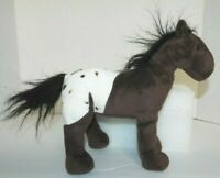 """Brown Spotted Horse Pony Plush Stuffed Toy With Black Mane 10"""" Tall 11 Long"""