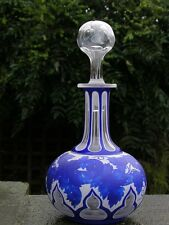 ANTIQUE VICTORIAN BOHEMIAN ENGLISH STOURBRIDGE WEBB BLUE CAMEO GLASS DECANTER
